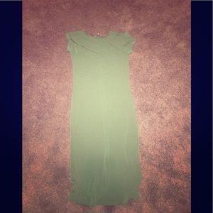 Hunter green midi bodycon dress